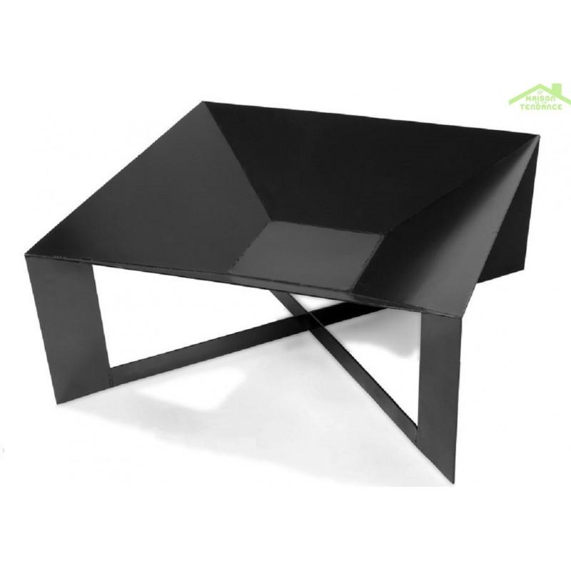 Brasero de jardin carr cuba au charbon 70x70 cm - Fabrication d un brasero ...
