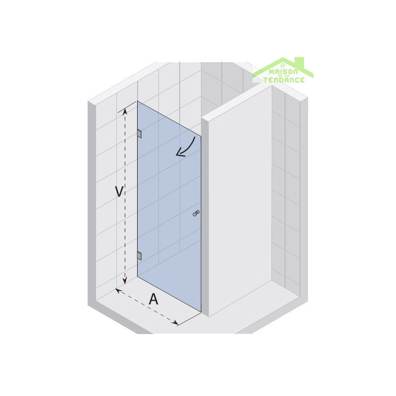 Porte battante de douche universelle fixe scandic s101 en verre clair maiso - Porte battante de douche ...
