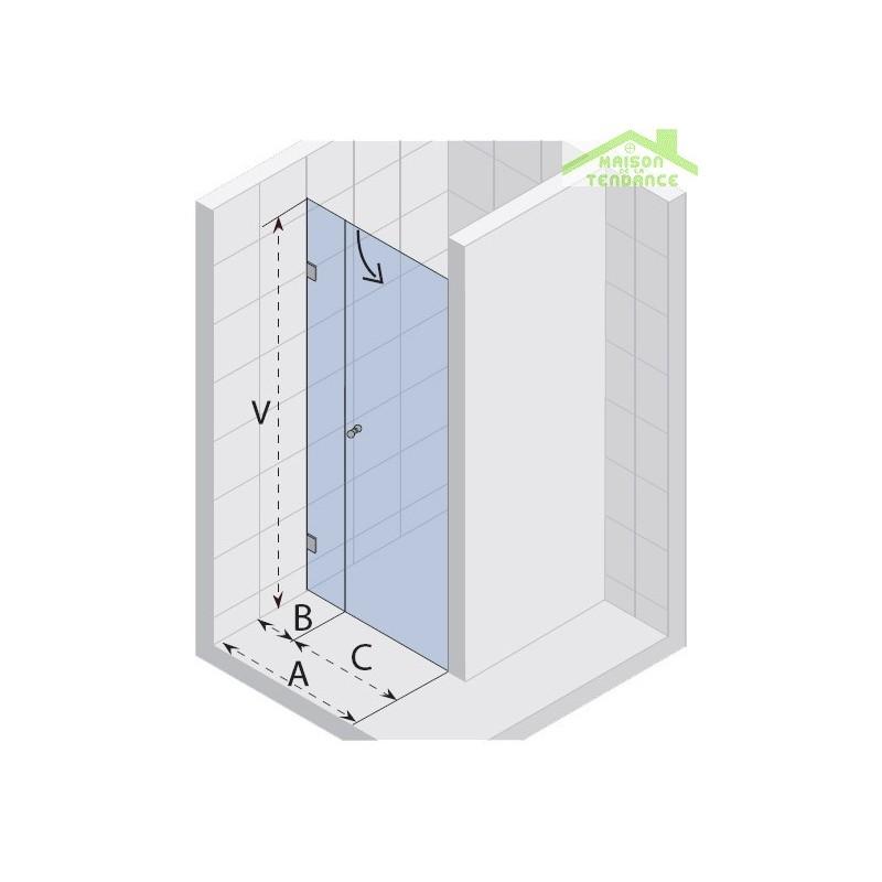 Porte battante de douche universelle riho scandic s102 en - Porte battante en verre ...