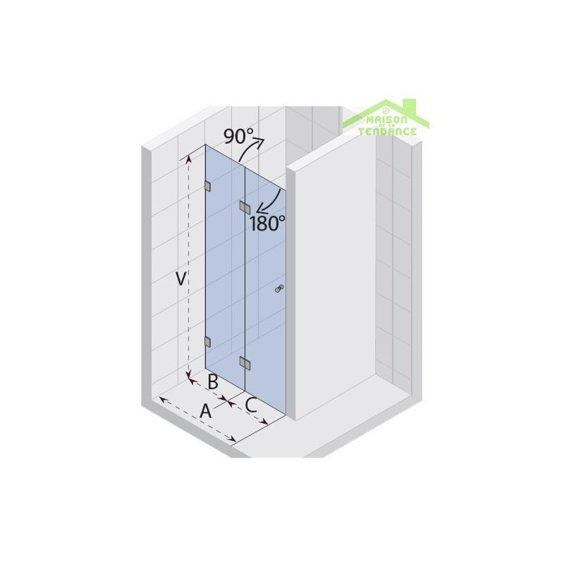Parois de douche pliante universelle riho scandic s105 en for Parois de douche en verre