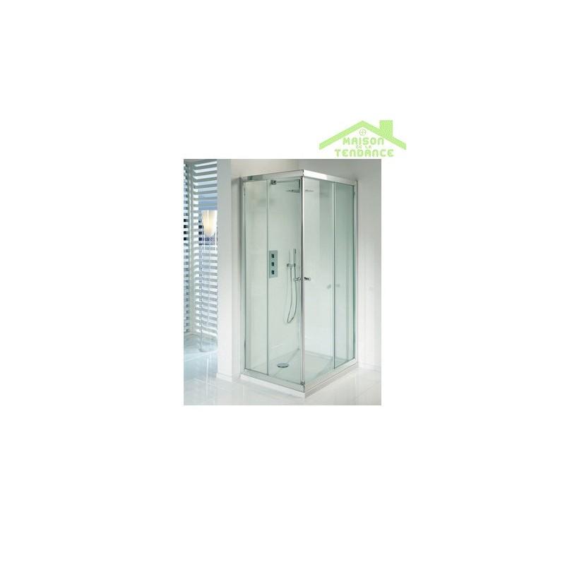 Parois de douche coulissantes lucena square en verre clair for Parois de douche en verre