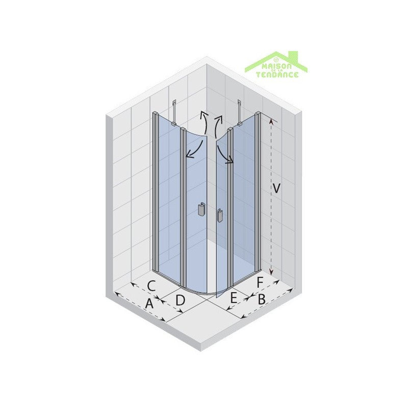 Parois de douche de rond universelle riho fjord f308 en for Parois de douche en verre