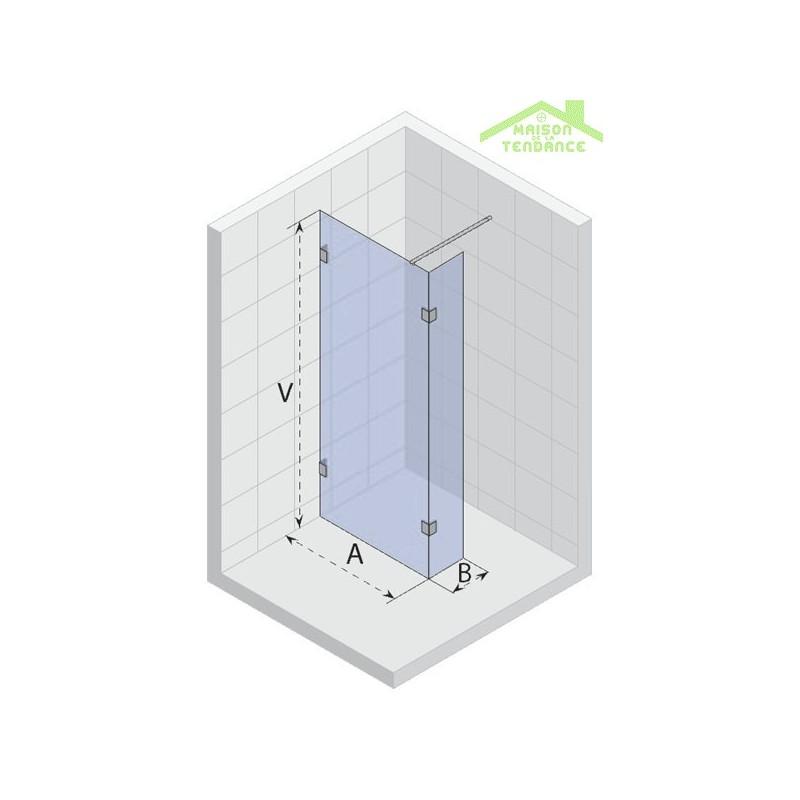 de douche universelle RIHO WALK IN DOUCHE SCANDIC S402 en verre clair