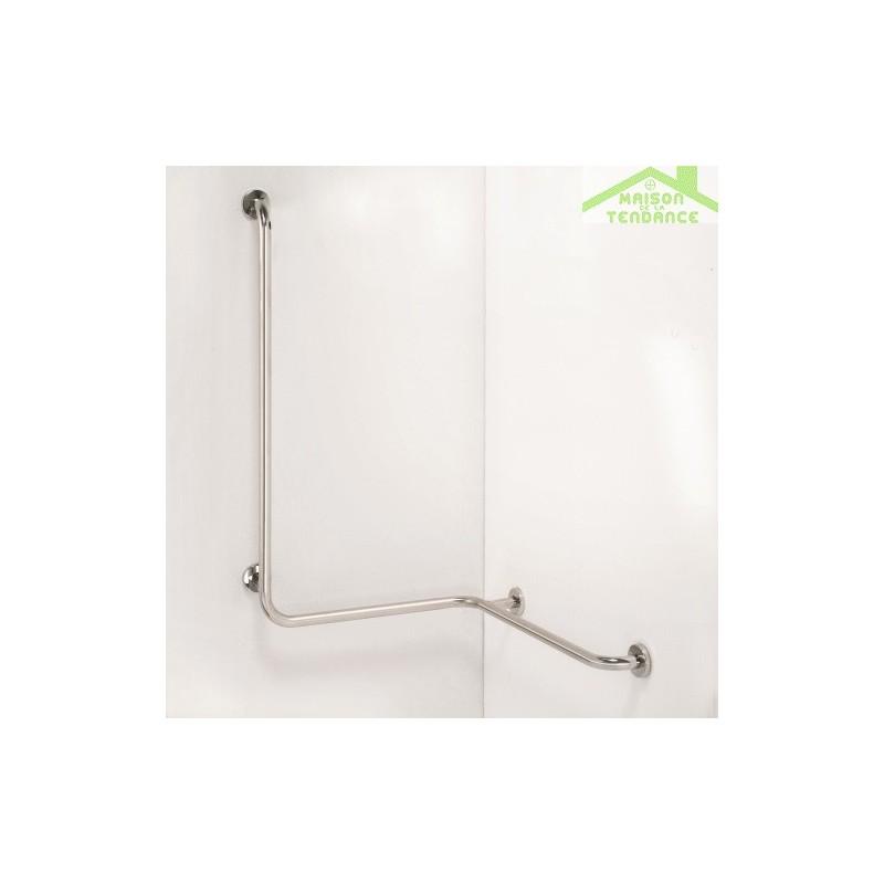 Barre de maintien de douche d 39 angle droite help 110x44cm - Barre de maintien paroi de douche ...