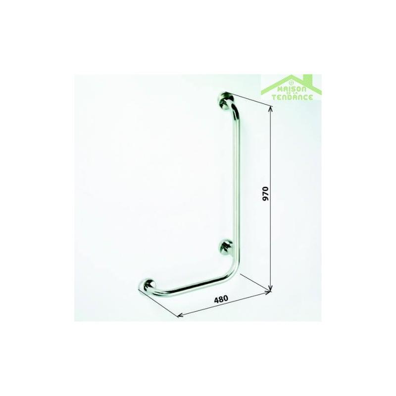 Barre de maintien de douche d 39 angle gauche help 97x48cm for Barre d angle de douche