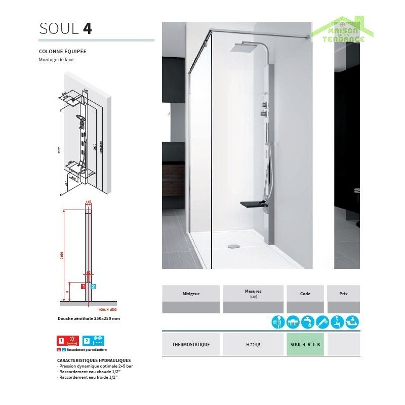 colonne de douche hydromassante thermostatique novellini soul 4 en chrome. Black Bedroom Furniture Sets. Home Design Ideas