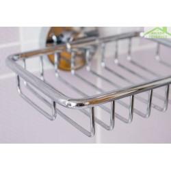 Porte-savon OMEGA en verre et en acier  11x5,5x12,5cm