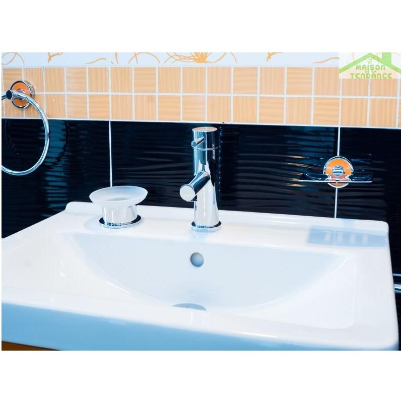 Porte savon omega en verre et en chrome 11x6x11 cm for Porte savon en verre