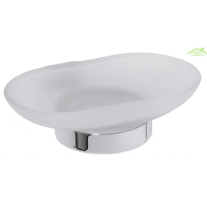 Porte savon oval en verre et en chrome 12 5x13x5 cm for Porte savon en verre