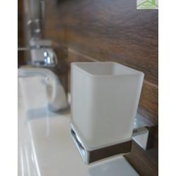 Porte-verre PLAZA en chrome + verre  6x10x9,5 cm