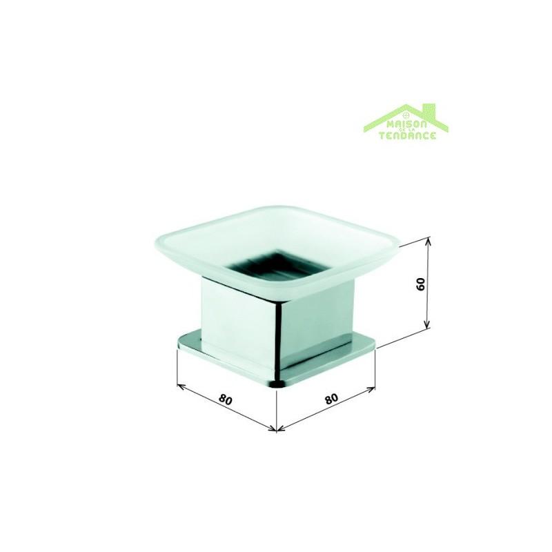 Porte savon plaza en verre et en chrome 8x8x6 cm for Porte savon en verre