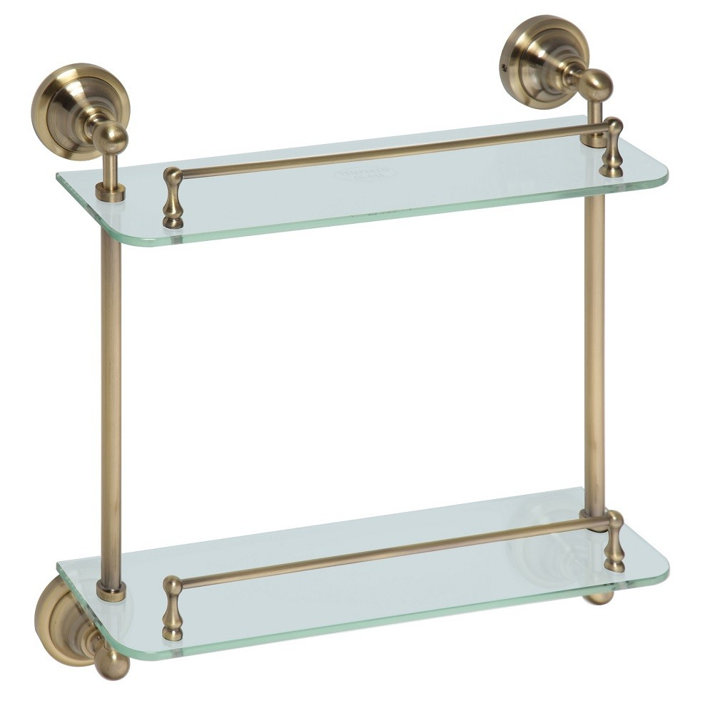 etagre tablette en verre double retro en laiton 40x42x12 cm - Tablette Retro Salle De Bain