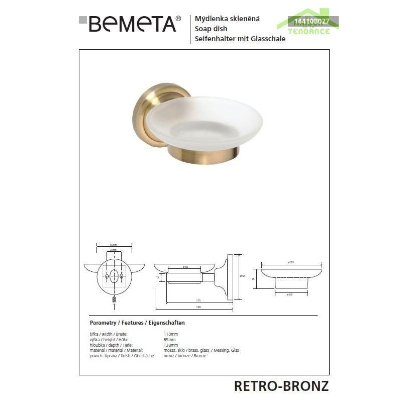 Porte savon retro en verre et en bronze 11x6 5x13 8 cm for Porte savon en verre