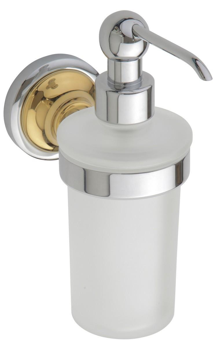 distributeur de savon liquide mural  en verre et chrome or retro xx cm ml