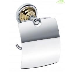 Dérouleur toilettes WC avec couvercle RETRO en  chrome-or 14x15x10 cm