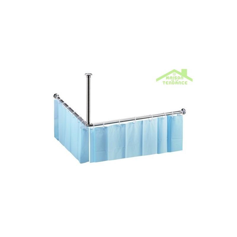 Tringle pour rideau de douche en acier poli 900x900mm for Tringle pour fenetre de toit