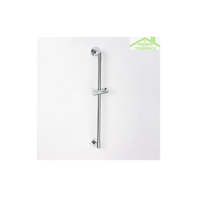 Rail de douche en chrome avec porte pommeau 900mm for Porte pommeau de douche