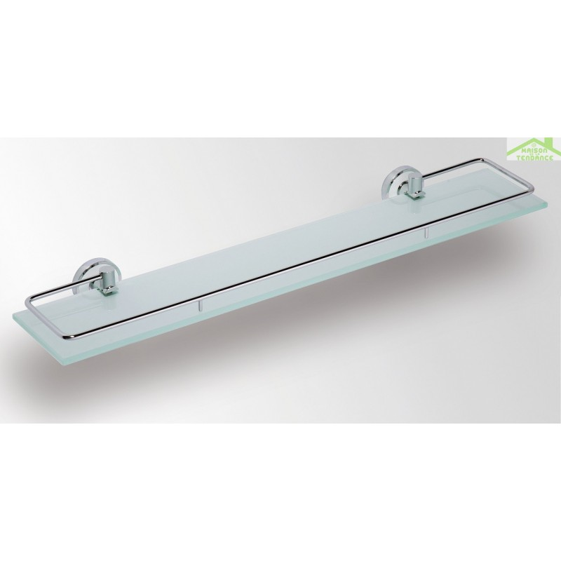 Etag re tablette en verre avec rail en chrome omega 60x5 for Tablette salle de bain verre