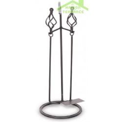 Serviteur de cheminée en acier noir 26x36x71cm