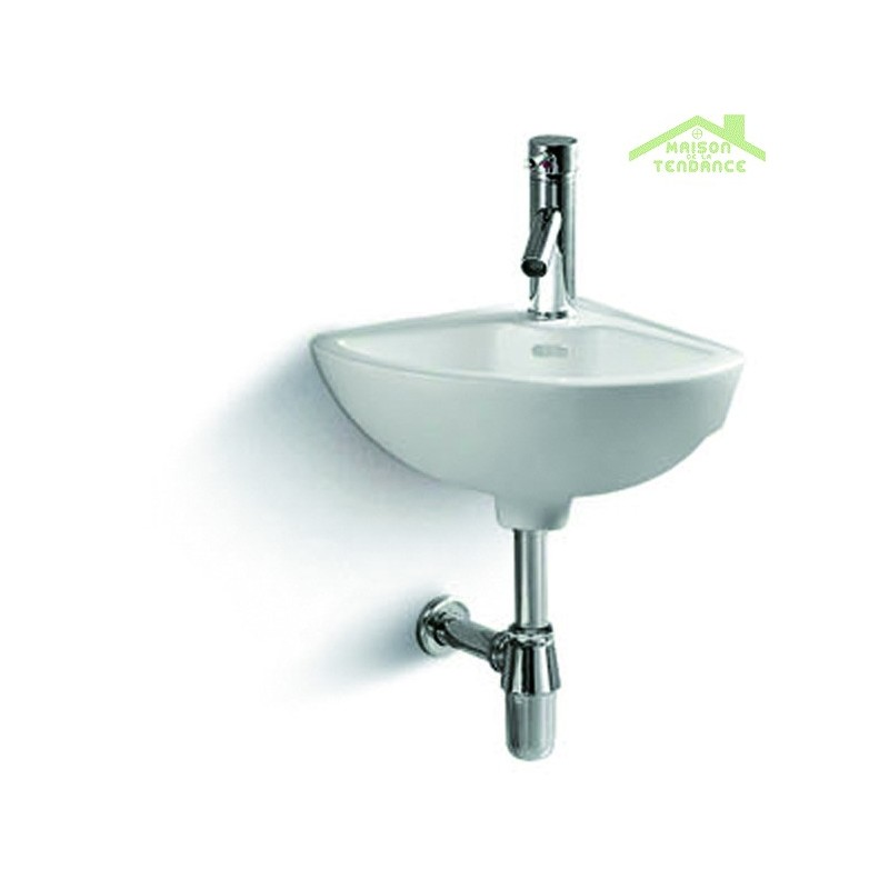 lavabo suspendu de coin 33x33x15 cm en c ramique. Black Bedroom Furniture Sets. Home Design Ideas