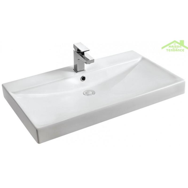 vasque poser sur un meuble de bain 60x46x13 5 cm en c ramique. Black Bedroom Furniture Sets. Home Design Ideas