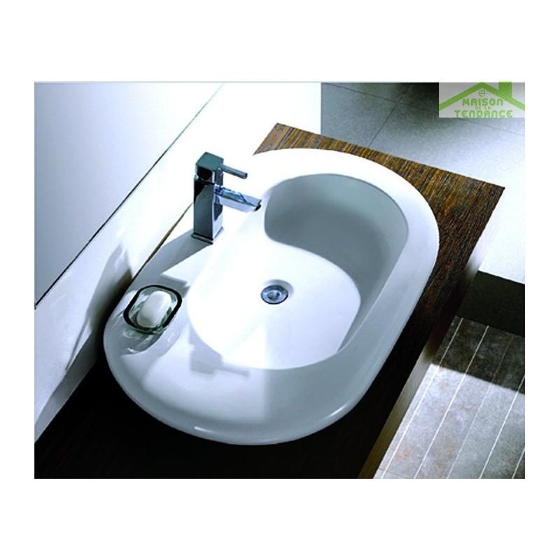 vasque ovale poser sur un meuble de bain 85x53x13 cm en c ramique. Black Bedroom Furniture Sets. Home Design Ideas