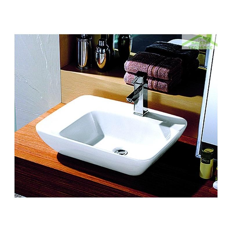 vasque rectangulaire poser sur un meuble de bain 57 5x43 5x13 5 cm en c ramique. Black Bedroom Furniture Sets. Home Design Ideas