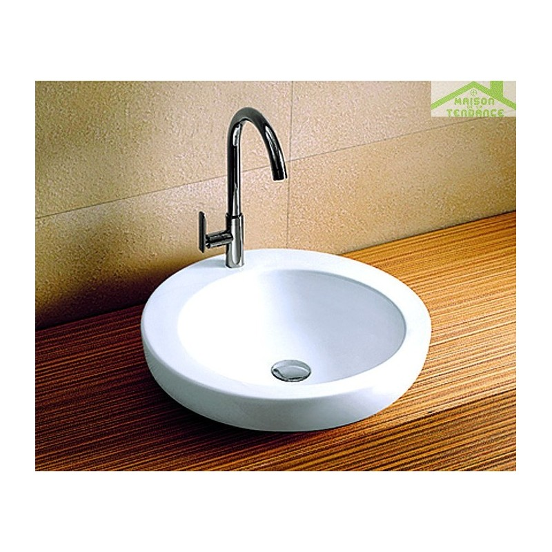 vasque rond poser sur un meuble de bain 45x45x12 cm en c ramique. Black Bedroom Furniture Sets. Home Design Ideas