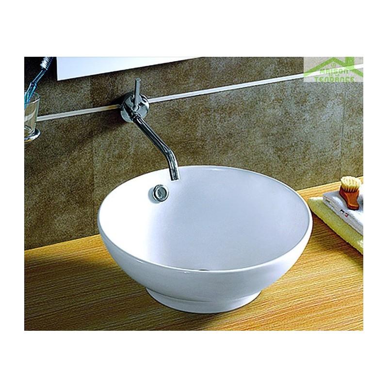 vasque rond poser sur un meuble de bain 40 5x40 5x17 5 cm en c ramique. Black Bedroom Furniture Sets. Home Design Ideas