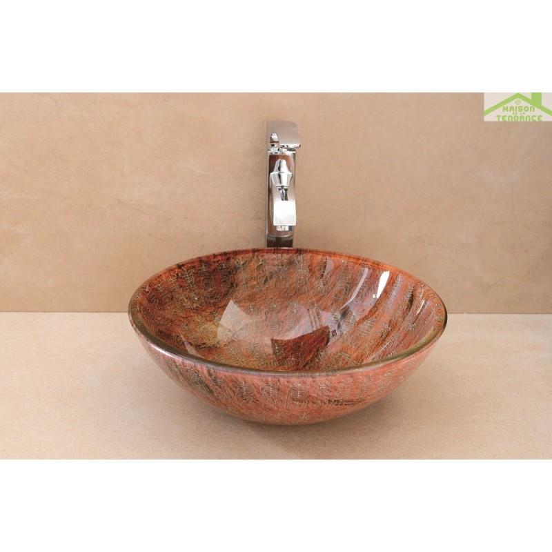 vasque rond poser sur un meuble de bain 42x42x12 cm en verre tremp. Black Bedroom Furniture Sets. Home Design Ideas