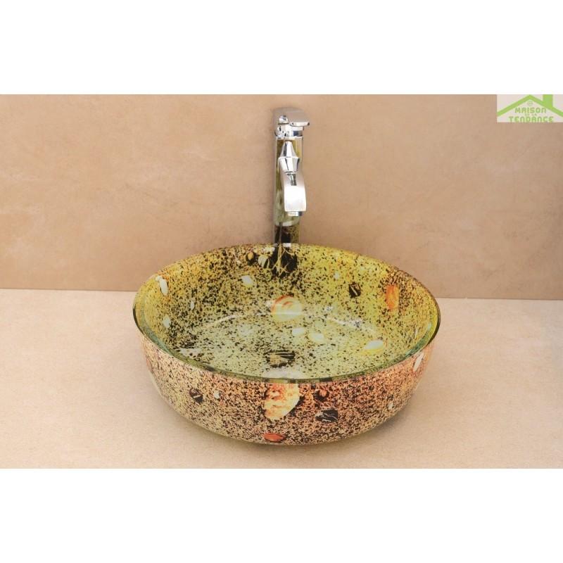 Vasque rond poser sur un meuble de bain 42x42x12 cm en - Vasque en verre ...