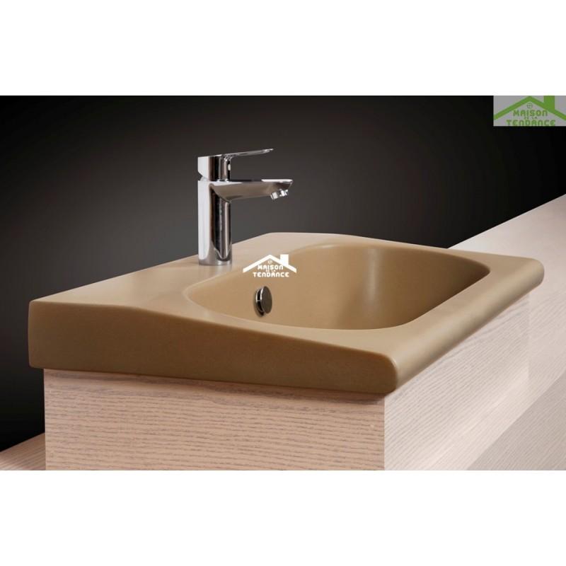 Vasque poser sur un meuble de bain 55x33x11 cm en porcelaine - Poser un meuble vasque ...