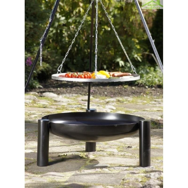 grille en inoxydable sur tr pied brasero de jardin palma. Black Bedroom Furniture Sets. Home Design Ideas