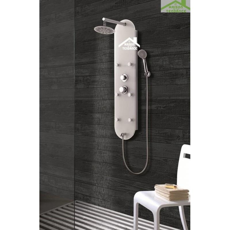 colonne de douche hydromassante tsitsi en verre 120x32x25 cm. Black Bedroom Furniture Sets. Home Design Ideas
