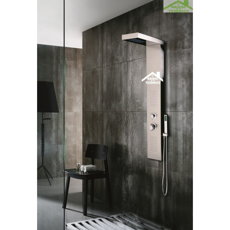 colonne de douche hydromassante velou en acier inoxydable. Black Bedroom Furniture Sets. Home Design Ideas