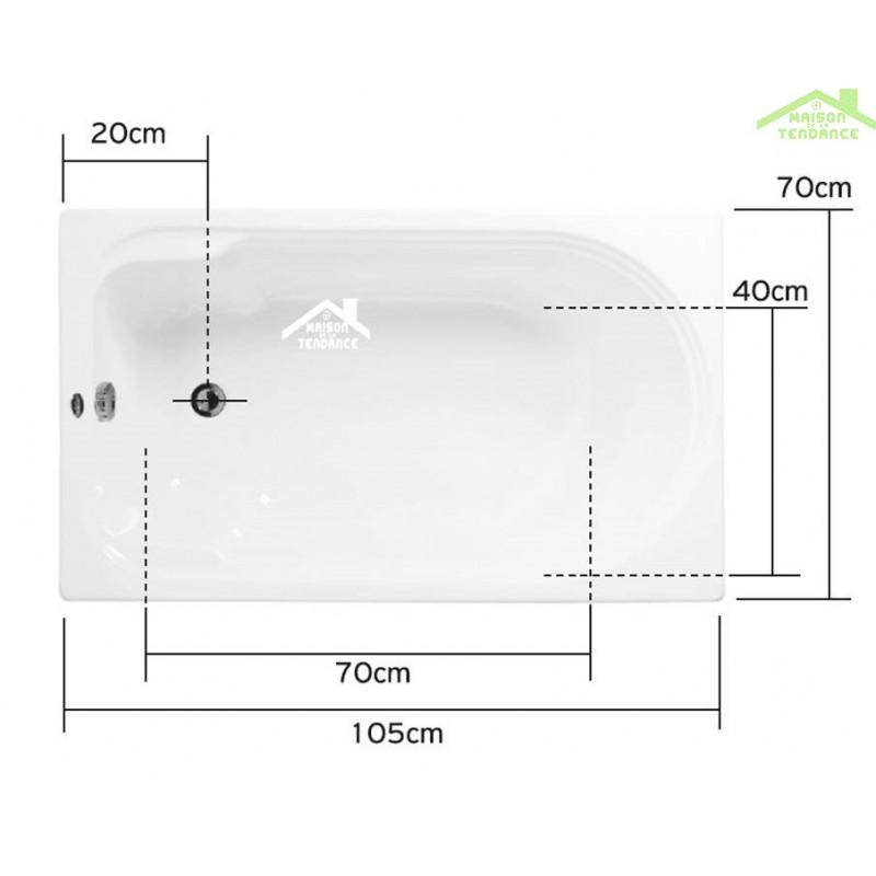 baignoire acrylique naxos 105x70 cm 170x70 cm maison de la tendance. Black Bedroom Furniture Sets. Home Design Ideas