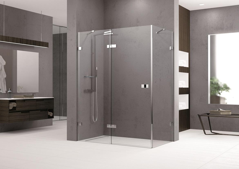 Porte de douche pivotante et fixe en alignement - Porte de douche avec paroi fixe ...