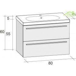 Ensemble meuble & lavabo RIHO BELLUNO SET 05 en bois stratifié 80x45x H 60 cm