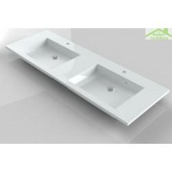 Lavabo double à 2 trous en marbre de synthèse RIHO BRONI 140x48 cm