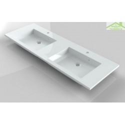 Lavabo double à 2 trous en marbre de synthèse RIHO BRONI 160x48 cm