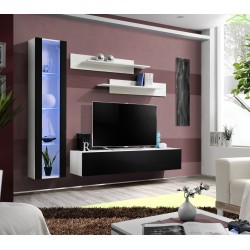 Ensemble meuble TV mural FLY-G de haute brillance