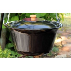 Chaudron pot émaillé avec couvercle sur trépied + brasero CUBA