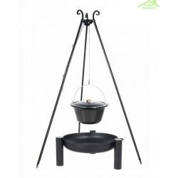 Chaudron pot émaillé avec couvercle sur trépied + brasero PALMA