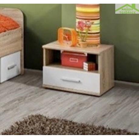 Table de chevet 45x38x40 cm en chêne sonoma et fronts blancs mats