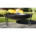 Chaudron pot émaillé avec couvercle sur trépied + brasero PAN