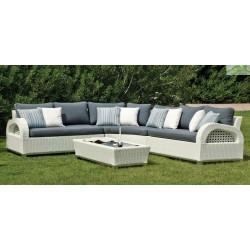 Salon de jardin avec table basse + 4 fauteuils + 2 repose-pieds JAMAICA HEVEA
