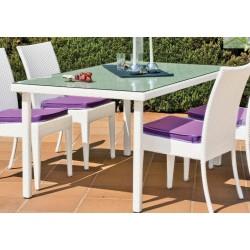 Ensemble de table de jardin 90x90 cm + 4 fauteuils CALBLANC HEVEA