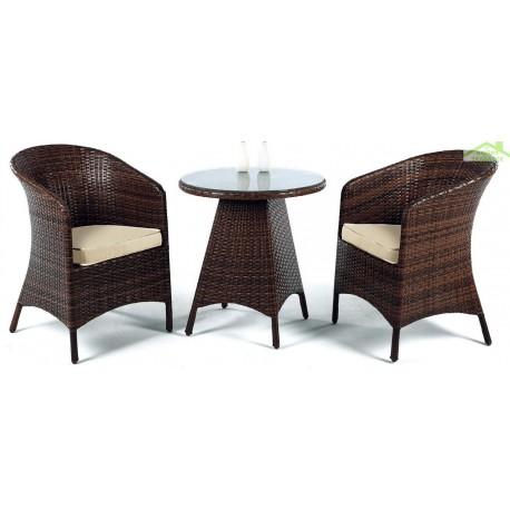 Salon de jardin ronde avec table basse Ø 65 cm + 2 fauteuils avec ...
