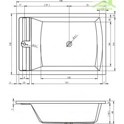 Baignoire d'angle acrylique RIHO SAVONA 190x130 cm