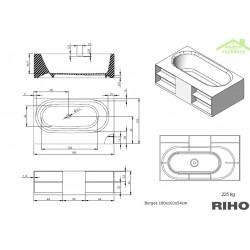Baignoire Riho 180x102 En Surface Cm Burgos Îlot Solid kXPZuOi